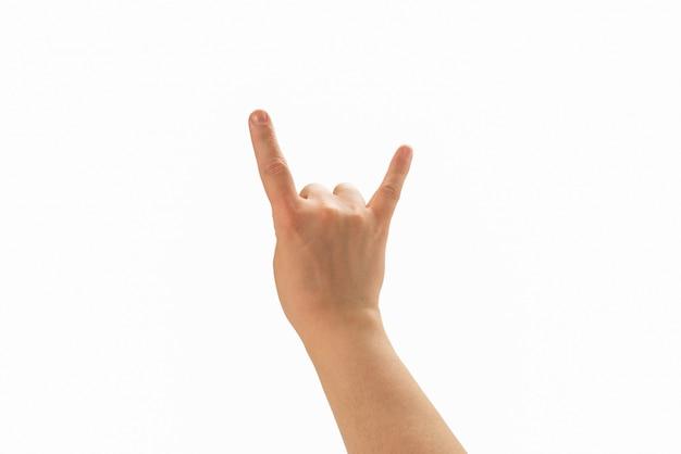Mão masculina isolada no branco.