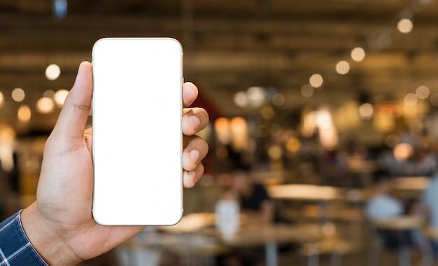 Mão masculina, mostrando, de, espaço branco, smartphone