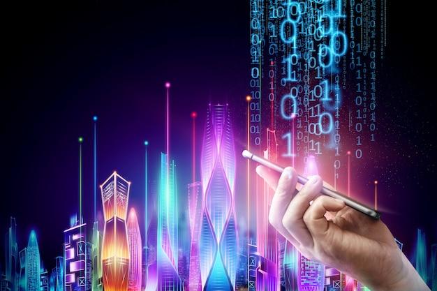 Mão masculina segurando um smartphone no fundo néon da noite da cidade inteligente do holograma em um fundo escuro, o conceito de tecnologia de big data.