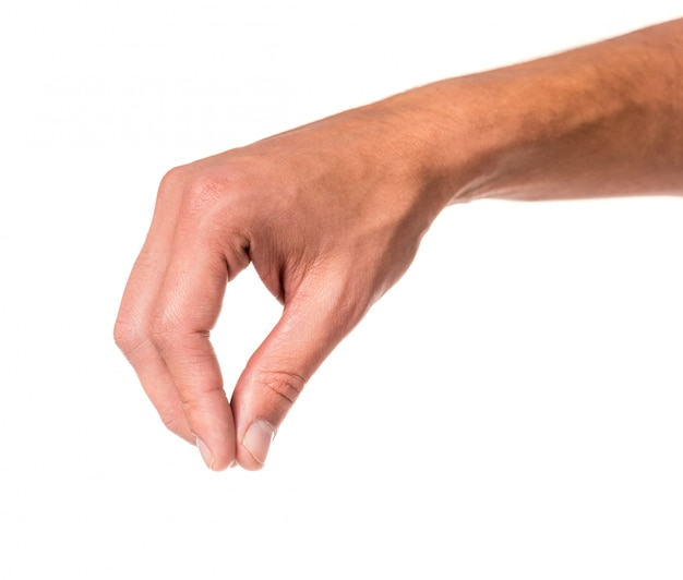 Mão masculina, sinal, isolado