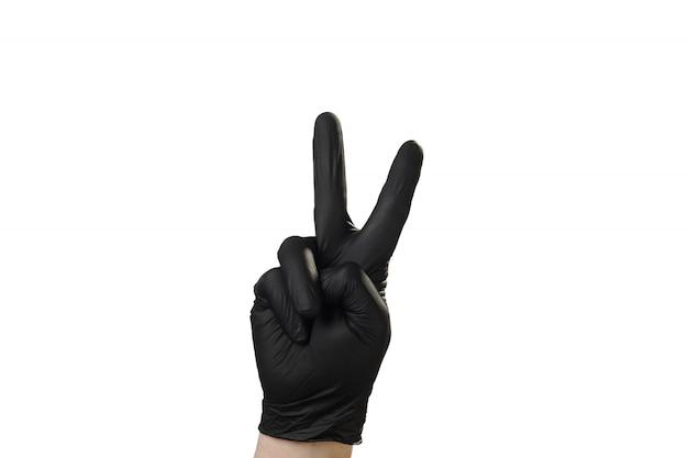 Mão mostra gesto, boa propaganda para a agência de segurança. dois.