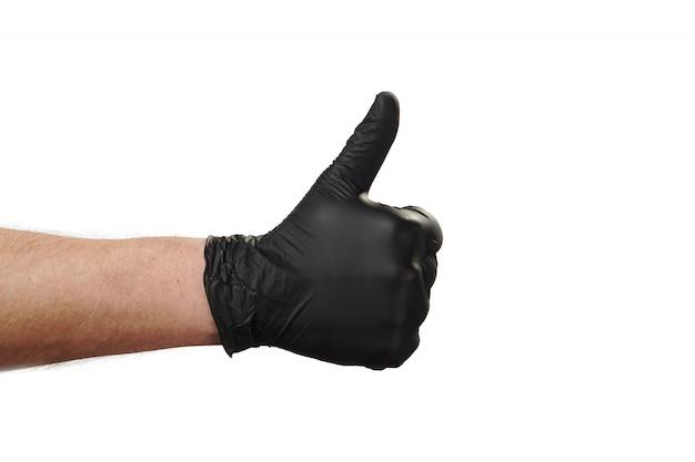 Mão mostra gesto, boa propaganda para a agência de segurança. gostar.