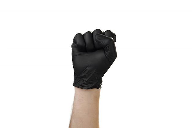 Mão mostra gesto, boa propaganda para a agência de segurança. luva.