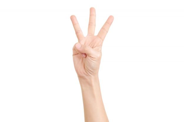 Mão mostrada três dedos