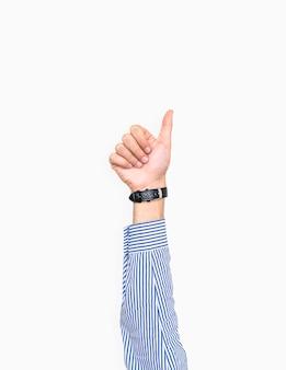 Mão, mostrando, polegares cima, gesto