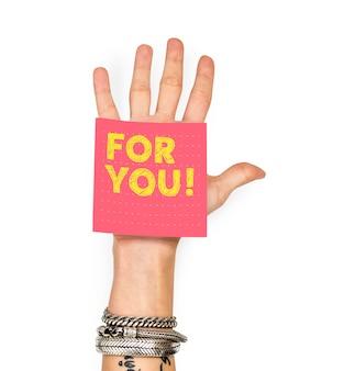 Mão, mostrando, um, nota pegajosa, com, para, tu
