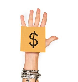 Mão, mostrando, um, nota pegajosa, com, um, sinal dólar