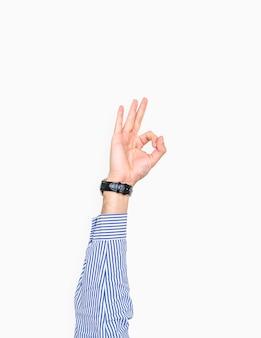 Mão, mostrando, um, ok, gesto