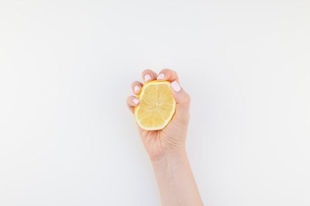 Mão mulher, com, limão
