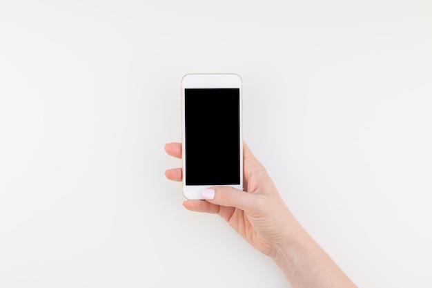 Mão mulher, com, smartphone