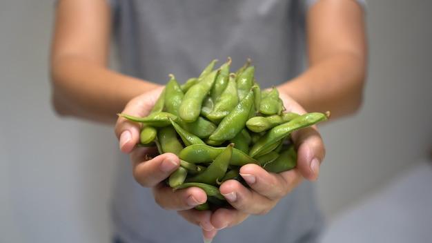 Mão mulher, segurando, japoneses, verde, soja