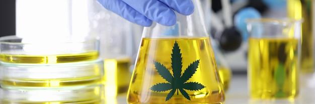 Mão na luva de borracha segurando um frasco com extrato de maconha no laboratório farmacêutico.