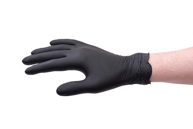 Mão na luva de látex preta isolada