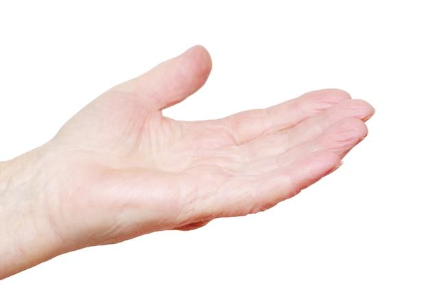 Mão na superfície branca