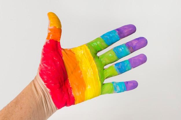 Mão nas cores lgbt