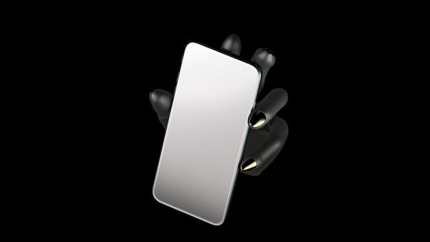 Mão negra segurando o telefone, isolado no fundo preto. ilustração 3d. conjunto de conceito de maquete de mídia social, app, mensagens e comentários.