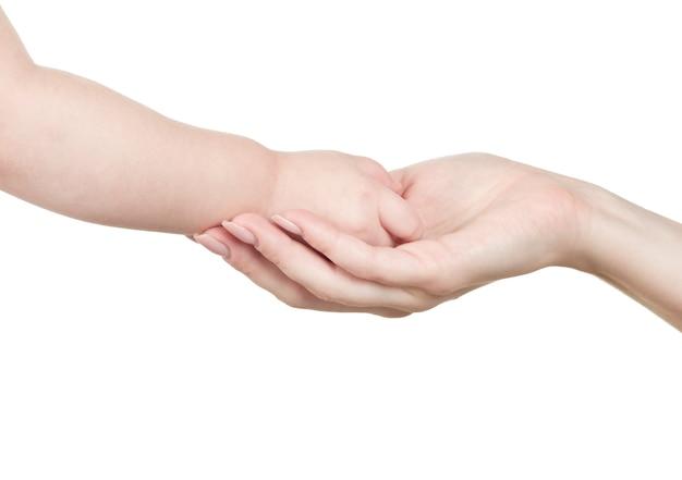 Mão para uma criança isolada no fundo branco