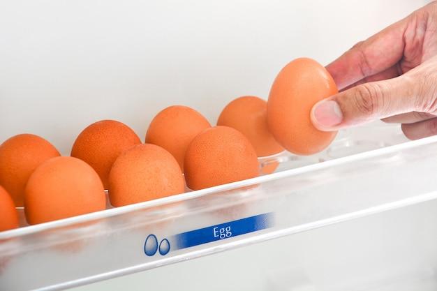 Mão pegando ovo de galinha fresca da prateleira de ovo na geladeira