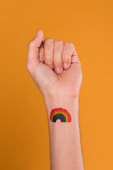 Mão, pintado, arco íris
