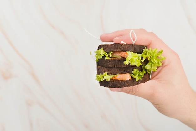 Mão plana leiga com sanduíche