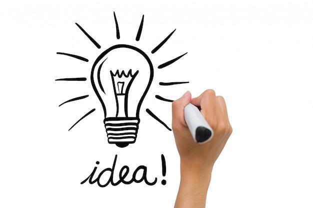Mão que desenha uma lâmpada ea palavra