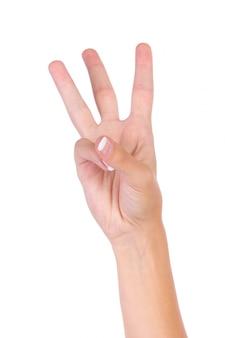 Mão que indica o número três com os dedos
