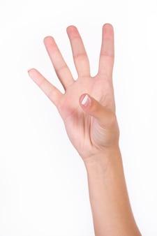 Mão que mostra quatro dedos