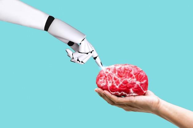 Mão, robô, cérebro, conceito, ai, em, comando, memória, ligado, mão humana, segurando