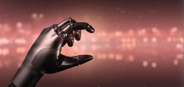 Mão robô vermelho ciborgue vírus - renderização em 3d