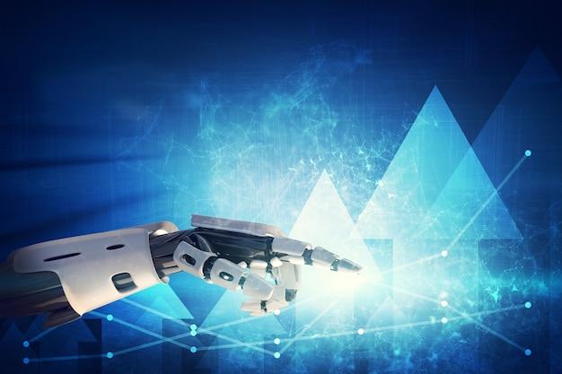 Mão robótica apontando para gráficos e diagramas no fundo tecnológico
