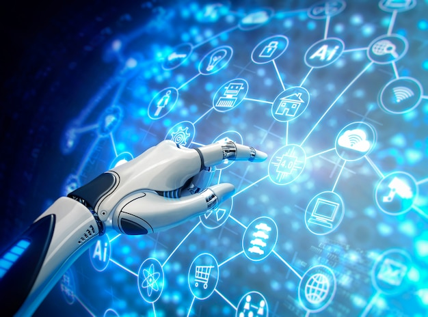Mão robótica com gráfico virtual