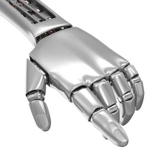 Mão robótica de metal apontando para algo isolado no branco