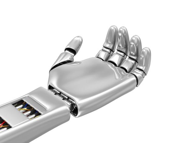 Mão robótica de metal com as palmas para cima isoladas no branco