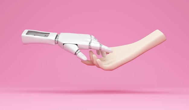 Mão robótica de metal e mão humana no fundo do estúdio