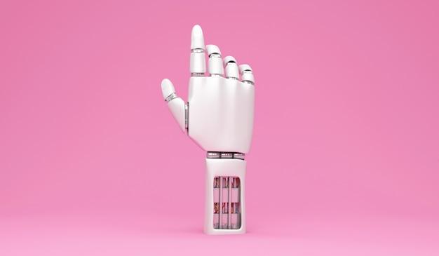 Mão robótica de metal no fundo rosa do estúdio