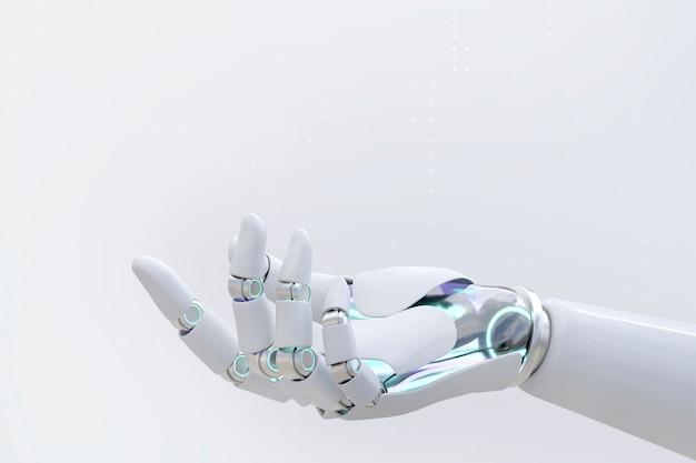 Mão robótica mostrando plano de fundo, vista lateral da tecnologia 3d ai