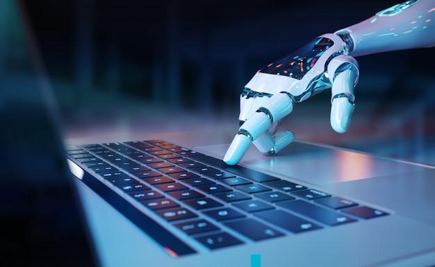 Mão robótica pressionando um teclado em um laptop