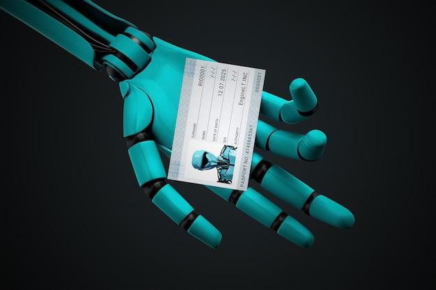Mão robótica segurando um passaporte com sua foto e número de identificação.