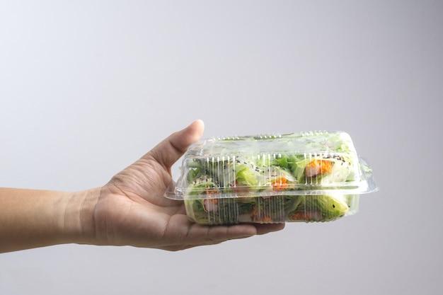 Mão segurando a caixa de vegetais hidroponia veget salad roll