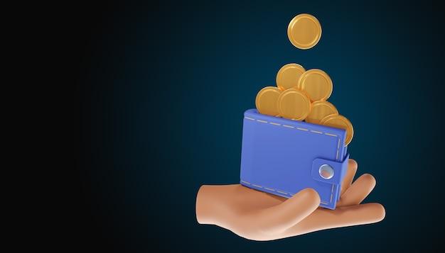 Mão segurando a carteira, pilha de moedas. economia de dinheiro, pagamento online e conceito de pagamento. ilustração 3d