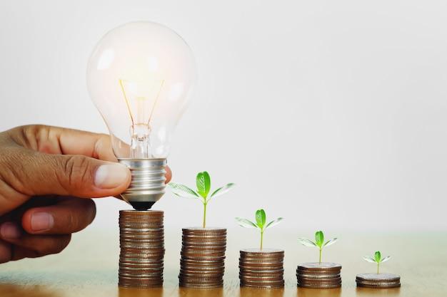 Mão segurando a lâmpada com planta crescendo passo em dinheiro.