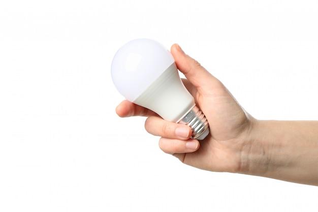Mão segurando a lâmpada, isolada no fundo branco