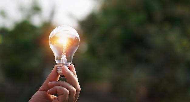 Mão segurando a lâmpada no fundo da natureza. conceito de energia solar