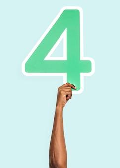 Mão, segurando, a, numere 4