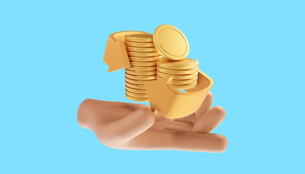 Mão segurando a pilha de moedas. conceito de ícone de reembolso e reembolso de dinheiro. ilustração 3d