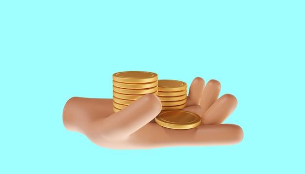 Mão segurando a pilha de moedas. economia de dinheiro, pagamento online e conceito de pagamento. ilustração 3d