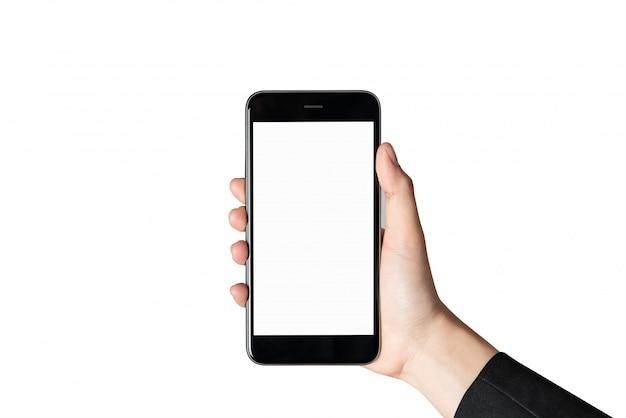 Mão segurando a tela em branco do smartphone no isolado.
