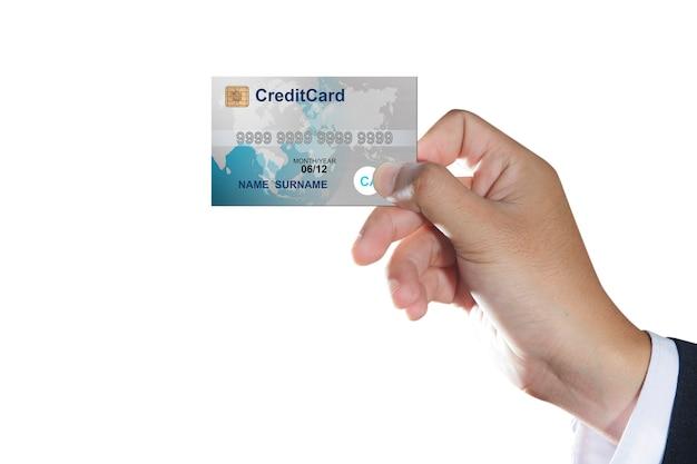 Mão, segurando, cartão crédito