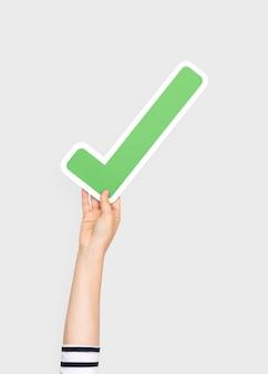 Mão, segurando, cheque, símbolo
