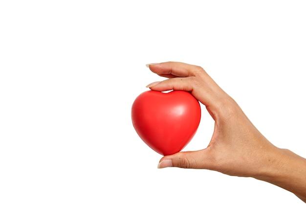 Mão, segurando, coração vermelho, dado forma